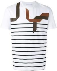 T-shirt à col rond à rayures horizontales blanc et noir Neil Barrett