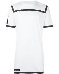 T-shirt à col rond à rayures horizontales blanc et noir Puma