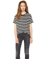 T-shirt à col rond à rayures horizontales blanc et noir R 13
