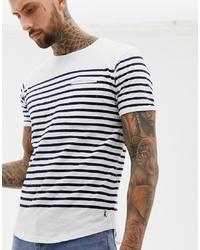 T-shirt à col rond à rayures horizontales blanc et noir Ringspun