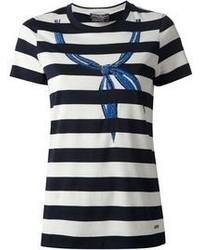 T-shirt à col rond à rayures horizontales blanc et noir Salvatore Ferragamo