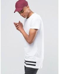 T-shirt à col rond à rayures horizontales blanc et noir Selected