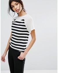 T-shirt à col rond à rayures horizontales blanc et noir Sisley