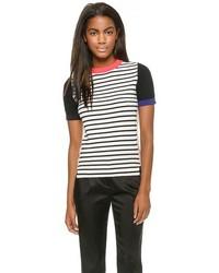 T-shirt à col rond à rayures horizontales blanc et noir Sonia Rykiel