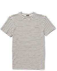 T-shirt à col rond à rayures horizontales blanc et noir Steven Alan