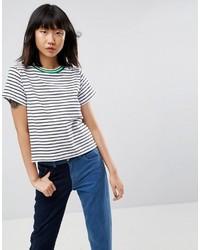 T-shirt à col rond à rayures horizontales blanc et noir