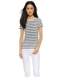 T-shirt à col rond à rayures horizontales blanc et noir Vince