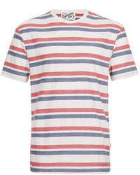 T-shirt à col rond à rayures horizontales blanc et rouge et bleu marine