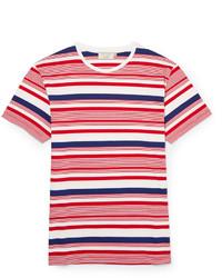 T-shirt à col rond à rayures horizontales blanc et rouge et bleu marine Kitsune