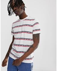 T-shirt à col rond à rayures horizontales blanc et rouge et bleu marine Levi's
