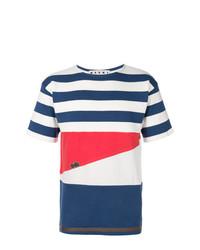 T-shirt à col rond à rayures horizontales blanc et rouge et bleu marine Marni