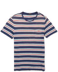 T-shirt à col rond à rayures horizontales blanc et rouge et bleu marine Polo Ralph Lauren