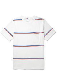 T-shirt à col rond à rayures horizontales blanc et rouge et bleu marine Saturdays Surf NYC