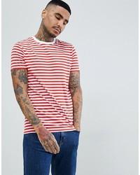 T-shirt à col rond à rayures horizontales blanc et rouge ASOS DESIGN