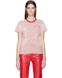 T-shirt à col rond à rayures horizontales blanc et rouge Marc Jacobs