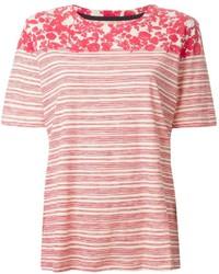 T-shirt à col rond à rayures horizontales blanc et rouge Tory Burch