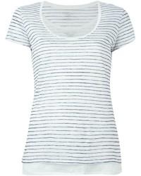 T-shirt à col rond à rayures horizontales blanc