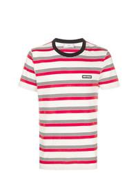 T-shirt à col rond à rayures horizontales blanc AMI Alexandre Mattiussi