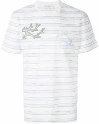 T-shirt à col rond à rayures horizontales blanc Salvatore Ferragamo