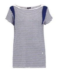 T-shirt à col rond à rayures horizontales bleu clair