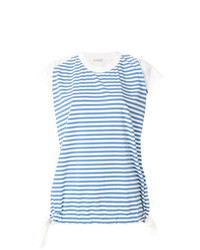 T-shirt à col rond à rayures horizontales bleu clair Moncler