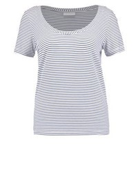 T-shirt à col rond à rayures horizontales bleu clair Vila