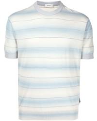 T-shirt à col rond à rayures horizontales bleu clair Z Zegna