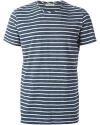 T-shirt à col rond à rayures horizontales bleu marine et blanc