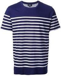 T-shirt à col rond à rayures horizontales bleu marine et blanc A.P.C.