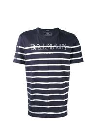 T-shirt à col rond à rayures horizontales bleu marine et blanc Balmain