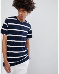 T-shirt à col rond à rayures horizontales bleu marine et blanc Bershka