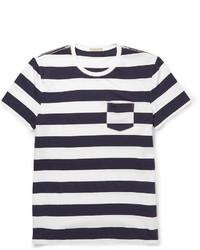 T-shirt à col rond à rayures horizontales bleu marine et blanc Burberry