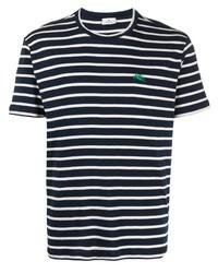 T-shirt à col rond à rayures horizontales bleu marine et blanc Etro