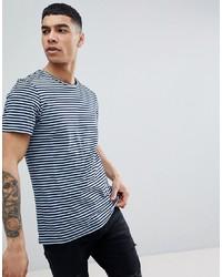 T-shirt à col rond à rayures horizontales bleu marine et blanc Jefferson