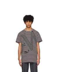 T-shirt à col rond à rayures horizontales bleu marine et blanc Loewe