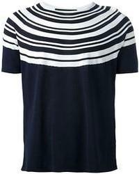 T-shirt à col rond à rayures horizontales bleu marine et blanc Neil Barrett