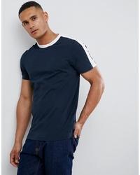 T-shirt à col rond à rayures horizontales bleu marine et blanc New Look