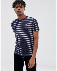 T-shirt à col rond à rayures horizontales bleu marine et blanc Nike SB