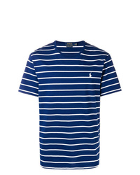 T-shirt à col rond à rayures horizontales bleu marine et blanc Polo Ralph Lauren