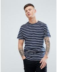 T-shirt à col rond à rayures horizontales bleu marine et blanc Pull&Bear
