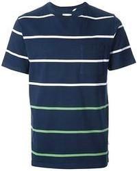 T-shirt à col rond à rayures horizontales bleu marine et blanc Saturdays Surf NYC