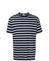 T-shirt à col rond à rayures horizontales bleu marine et blanc Sunspel