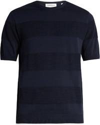T-shirt à col rond à rayures horizontales bleu marine