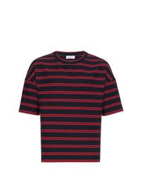 T-shirt à col rond à rayures horizontales bleu marine Jil Sander