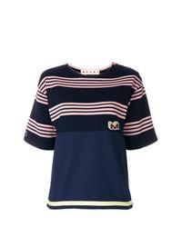 T-shirt à col rond à rayures horizontales bleu marine Marni