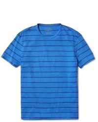 T-shirt à col rond à rayures horizontales bleu