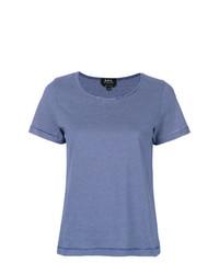 T-shirt à col rond à rayures horizontales bleu A.P.C.