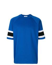 T-shirt à col rond à rayures horizontales bleu AMI Alexandre Mattiussi