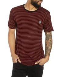 T-shirt à col rond à rayures horizontales bordeaux