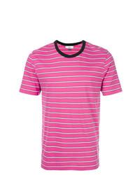 T-shirt à col rond à rayures horizontales fuchsia AMI Alexandre Mattiussi